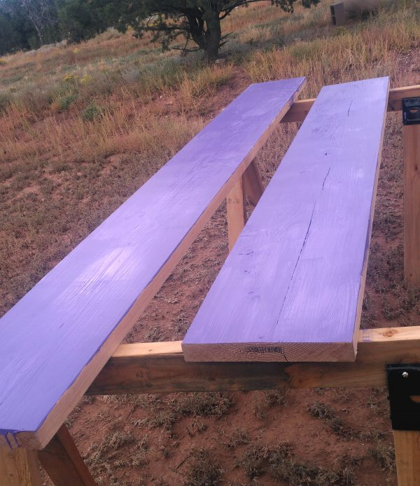 Two more wide boards, one cut shorter than the other, both sitting on the sawhorses & painted purple on the top.