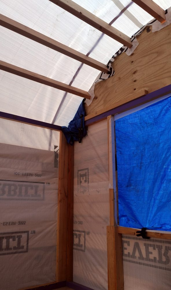 Part of the back wall is showing, plus some of the roof, & a bit of side wall. There's plenty of light coming in through the tarp but yes: INSIDE.