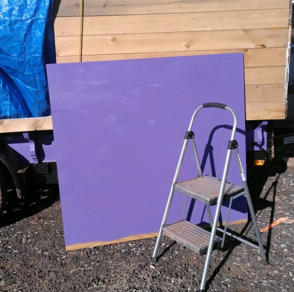 Yep, that big hunk of plywood is now painted a nice purple.
