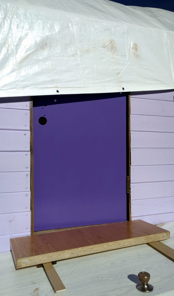 The door from the outside! It is vigorously purple! The doorframe isn't painted yet though & I need to fix that.