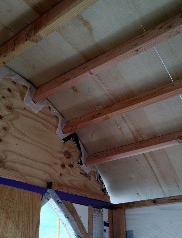 Inside the tinker's wagon, looking up. That plywood is curving neatly over the rafters & is, in fact, enclosing that corner of the tinker's wagon.