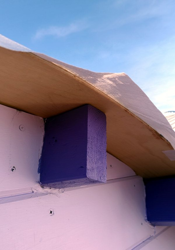 A close shot of the back part of the roof, showing a couple inches of rafter sticking out of the wall, plywood above that, & on top, the white tarp.