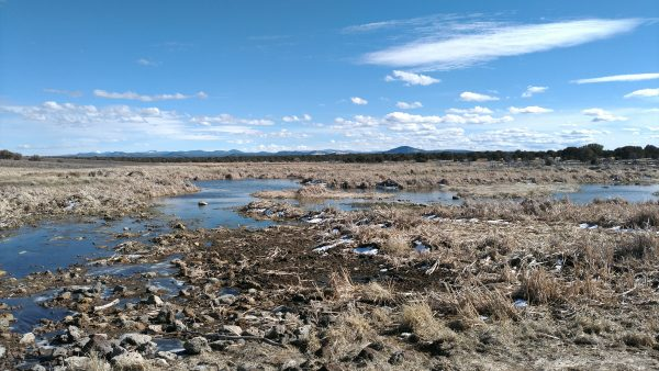 There's some water in the hypothetical lake, but mostly it's rocks & dry brown brush. At the horizon, a more mountainous landscape is just visible.