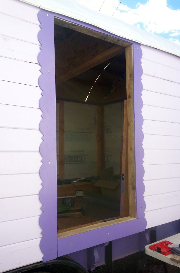 The door now has pretty purple trim all the way around!