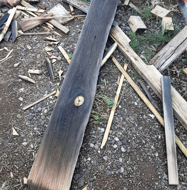 One of the wide boards I've been using on the back wall is laying on the ground, along with a bunch of scraps of wood of varying sizes. They're all SOAKING wet.